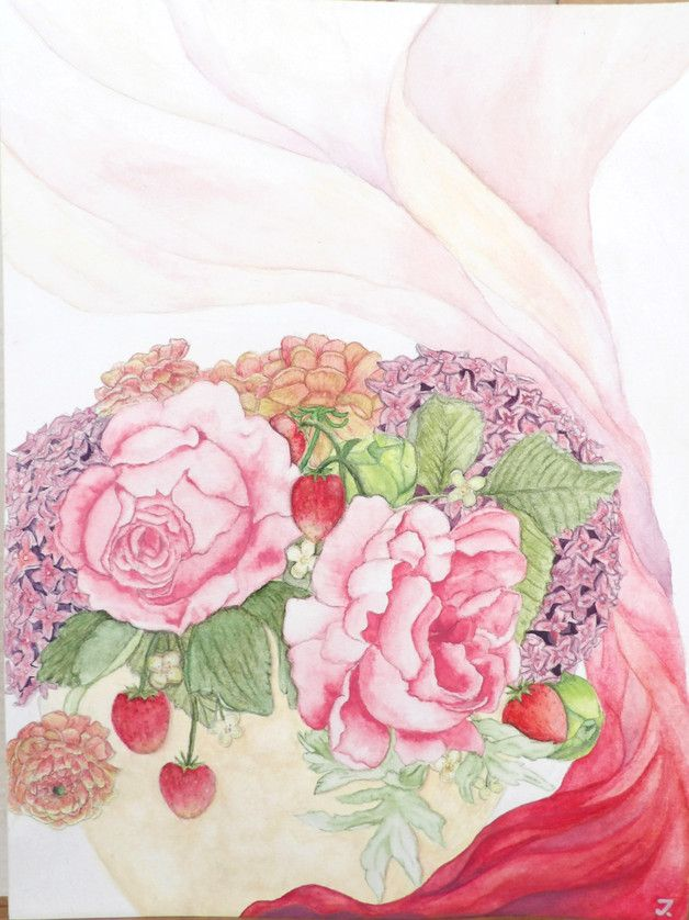 Painting Aquarell spring #painting by MrsPicca
