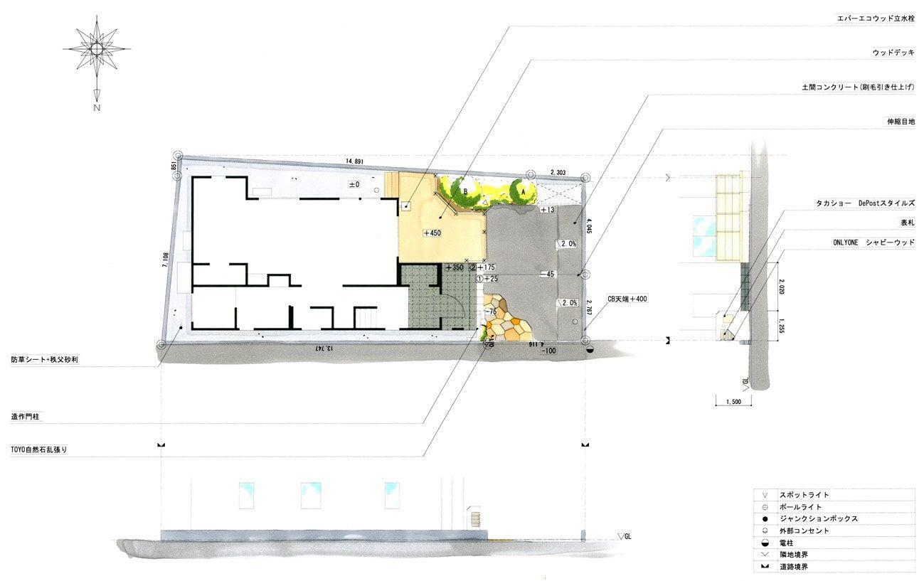 建物の雰囲気に合わせたナチュラルな外構デザイン 平面図 建物