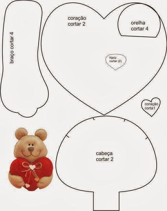 Patron oso | costura | Pinterest | Molde, Fieltro y Fomi
