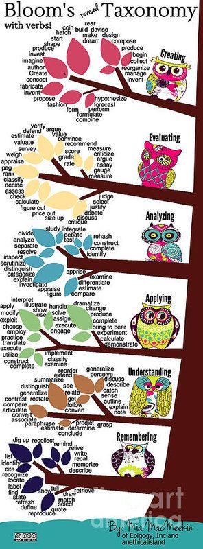 Bloom's Taxonomy with Verbs Art Print by Shawn MacMeekin