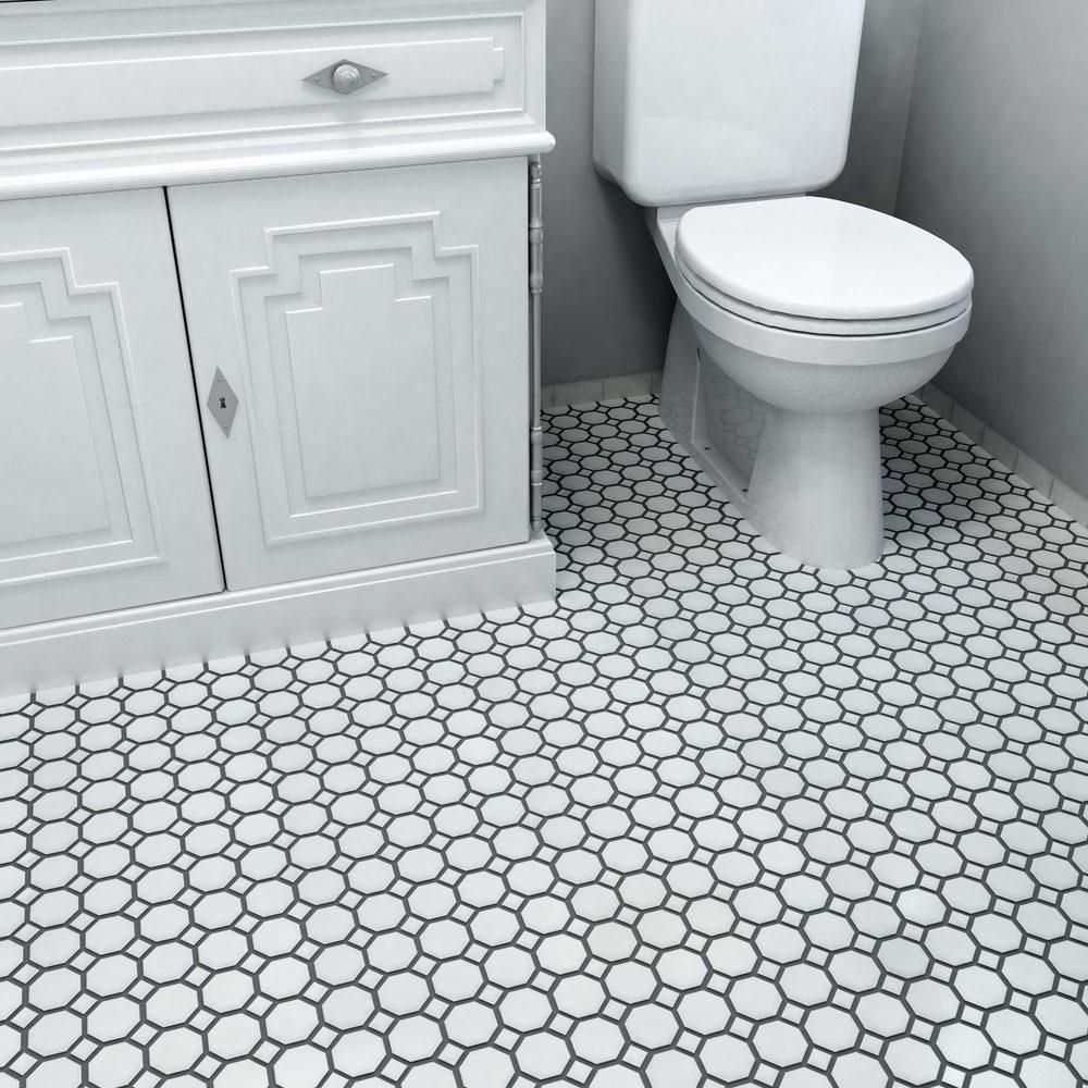 Merola Tile Metro Octagon Matte White With Dot 11 1 2 In X 11 1 2 In X 5 Mm Porcelain Mosaic Tile 9 38 Sq Ft Case Fxlmowwt The Home Depot Mosaic Flooring Porcelain Mosaic Bathroom Floor Tiles