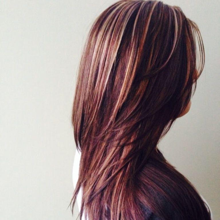 Dunkelbraune Haare Mit Blonden Und Roten Strähnen Ideen Rund Ums