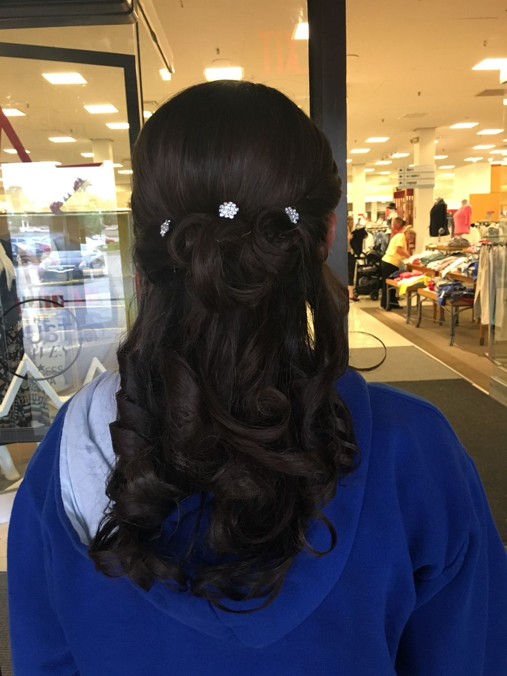 Prom hair pretty curled half up half down updo sparkles semi