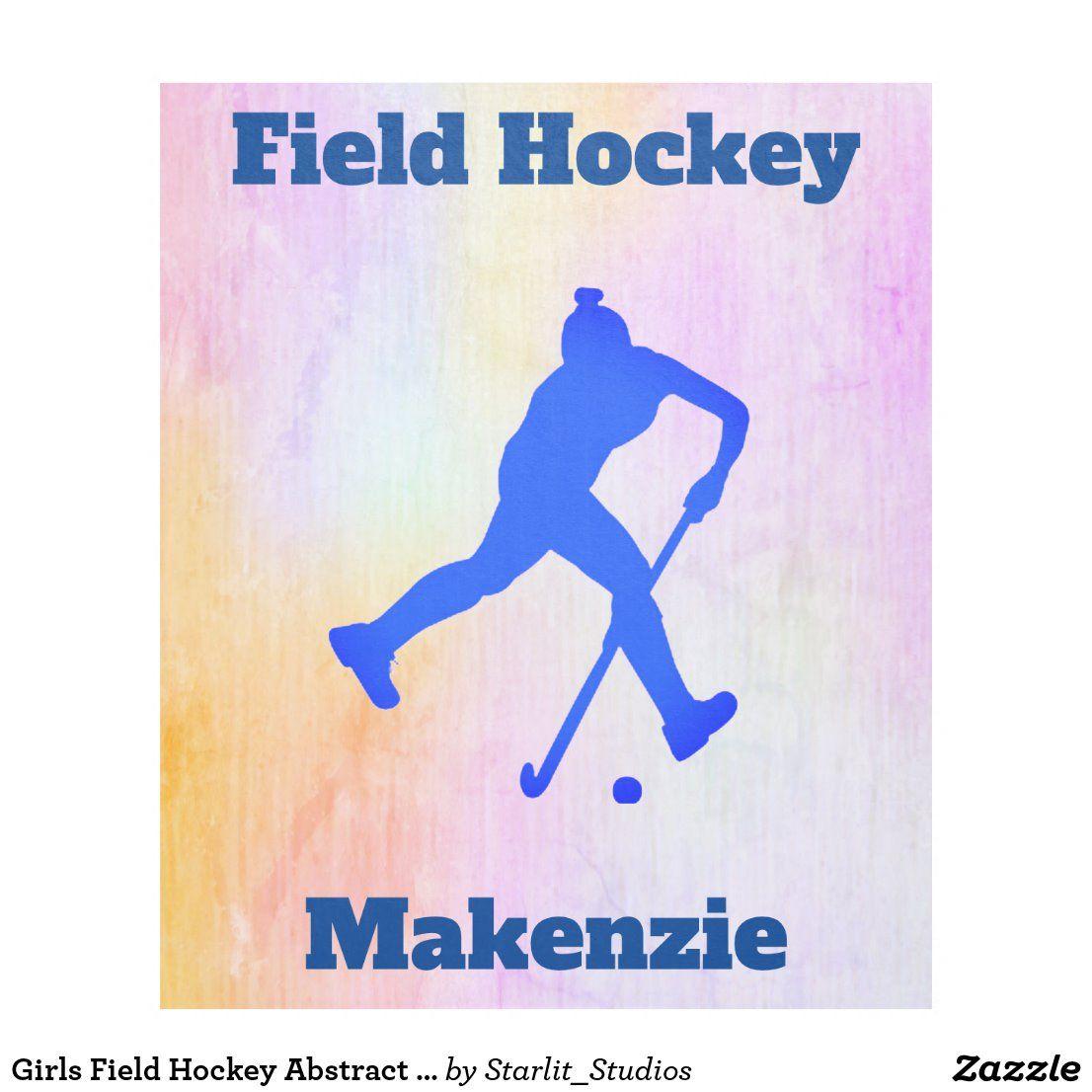 Girls Field Hockey Abstract Fleece Blanket