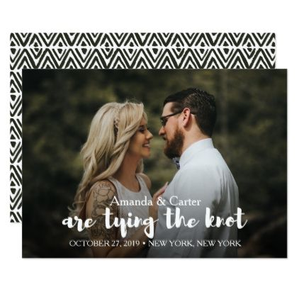 TRENDY TIE THE KNOT PHOTO SAVE THE DATE CARD - chic design idea ...