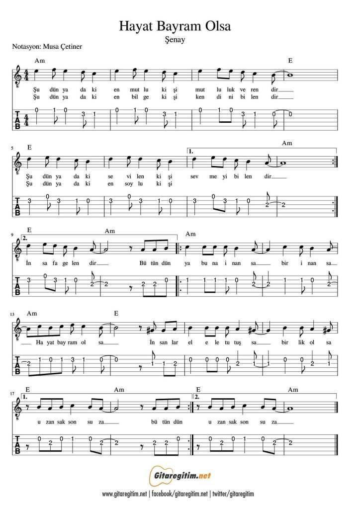 Hayat Bayram Olsa Nota Tab Musik Lernen Musik Noten