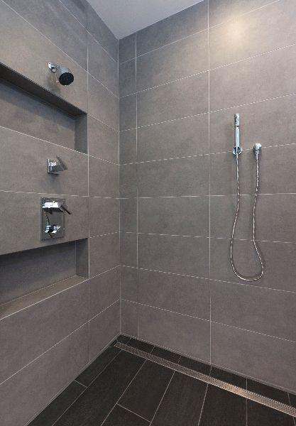 Large format tile shower and linear shower drain photo for Large bathroom tiles in small bathroom