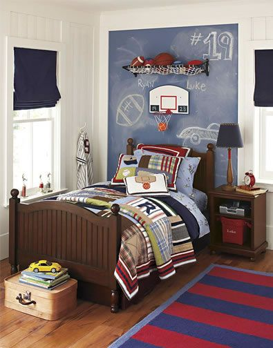 Boy Bedroom Ideas Sports With Red Blue Stripe Carpet Also Brown Wooden Bed And Basket Ball Players Room Decor Besides Cool Masculine Stuffs Medium