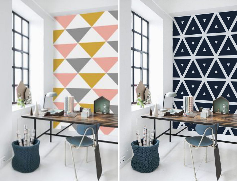 Adesivo De Parede Em Forma De Triângulo. WandgestaltungHome Office DreieckswandBüro IdeenWand ...