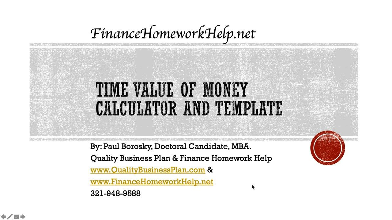 Time Value of Money Calculator and Template in Excel