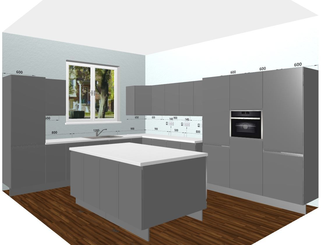 Glossy Grey Kitchen With Tall Wall Units Perfect Large Kitchen - Glossy grey kitchen