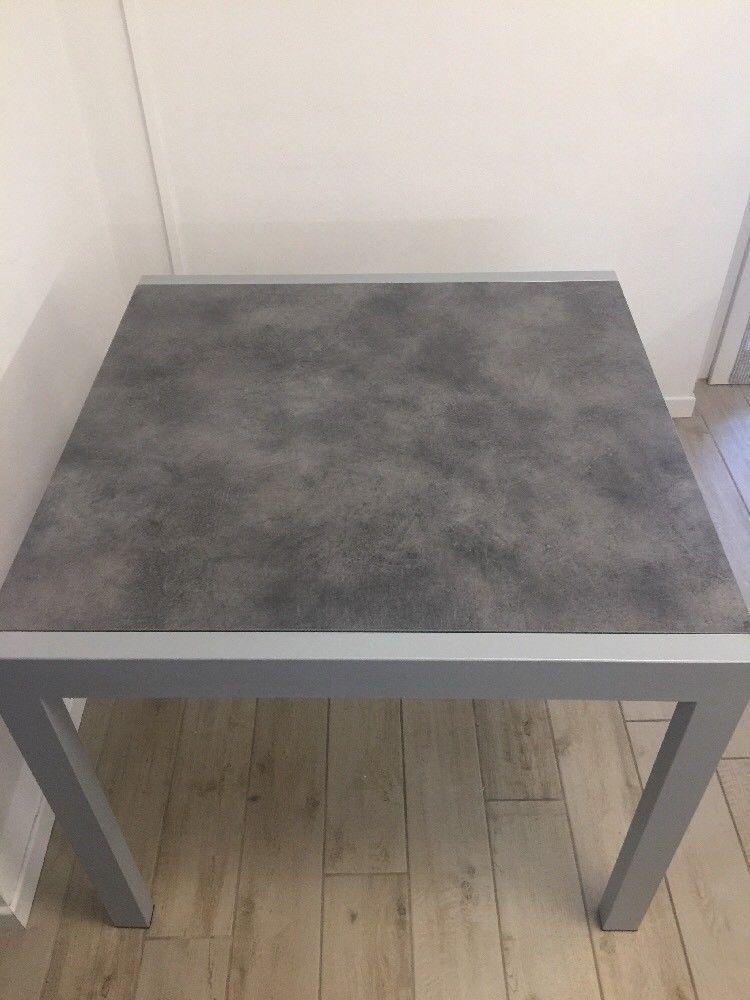 Tavolo Quadrato Allungabile Da Esterno.Tavolo Quadrato Allungabile Metallo Pietra Lavica 90x90 180