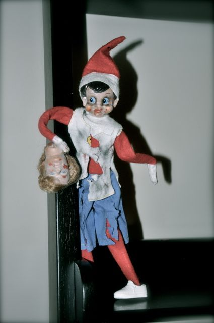 The Elfing Dead, probably not appropriate but would be fun for him to visit like this on #halloween #elf on the shelf