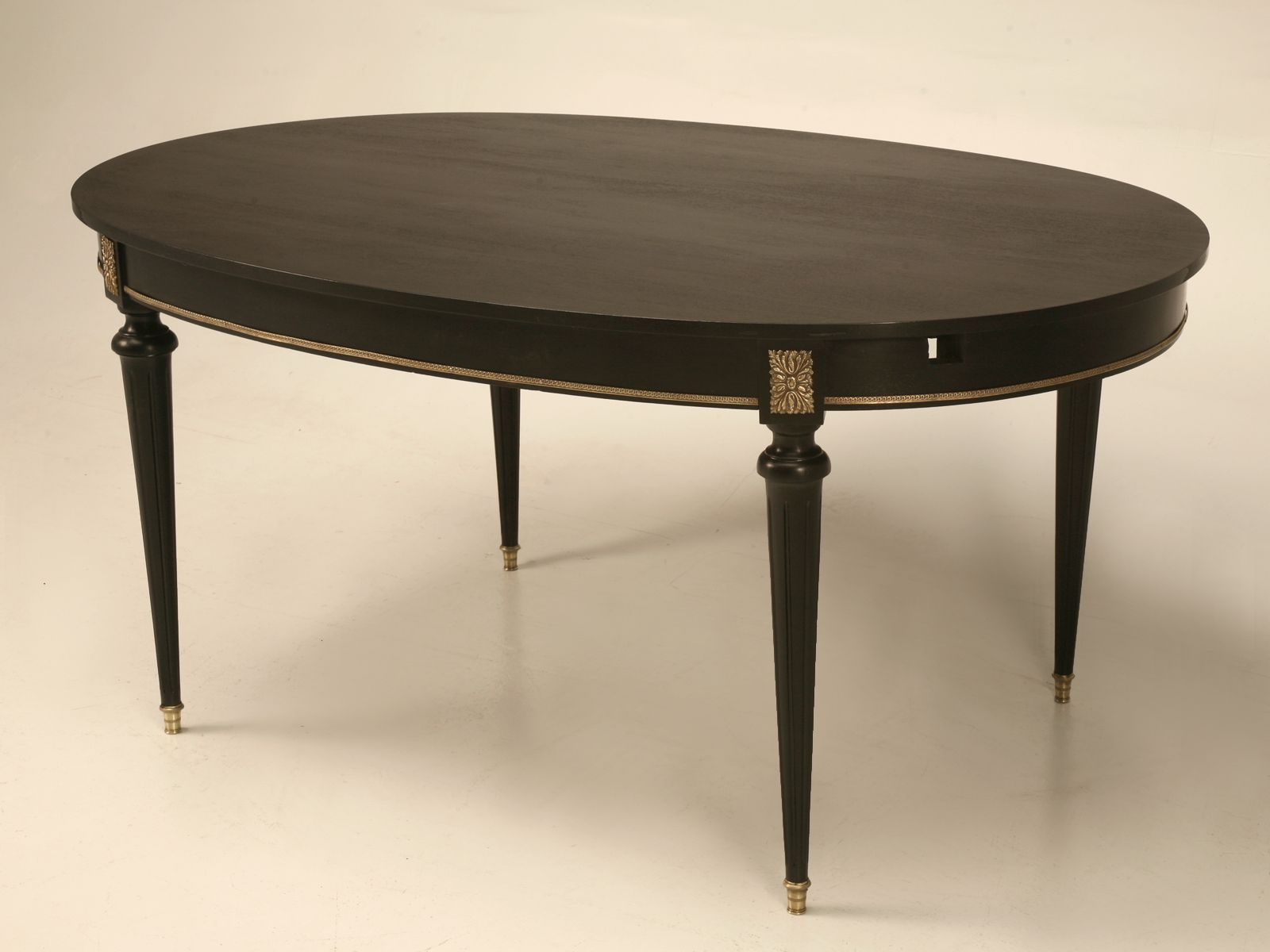 Vintage French Ebonized Louis Xvi Style Oval Dining Table With