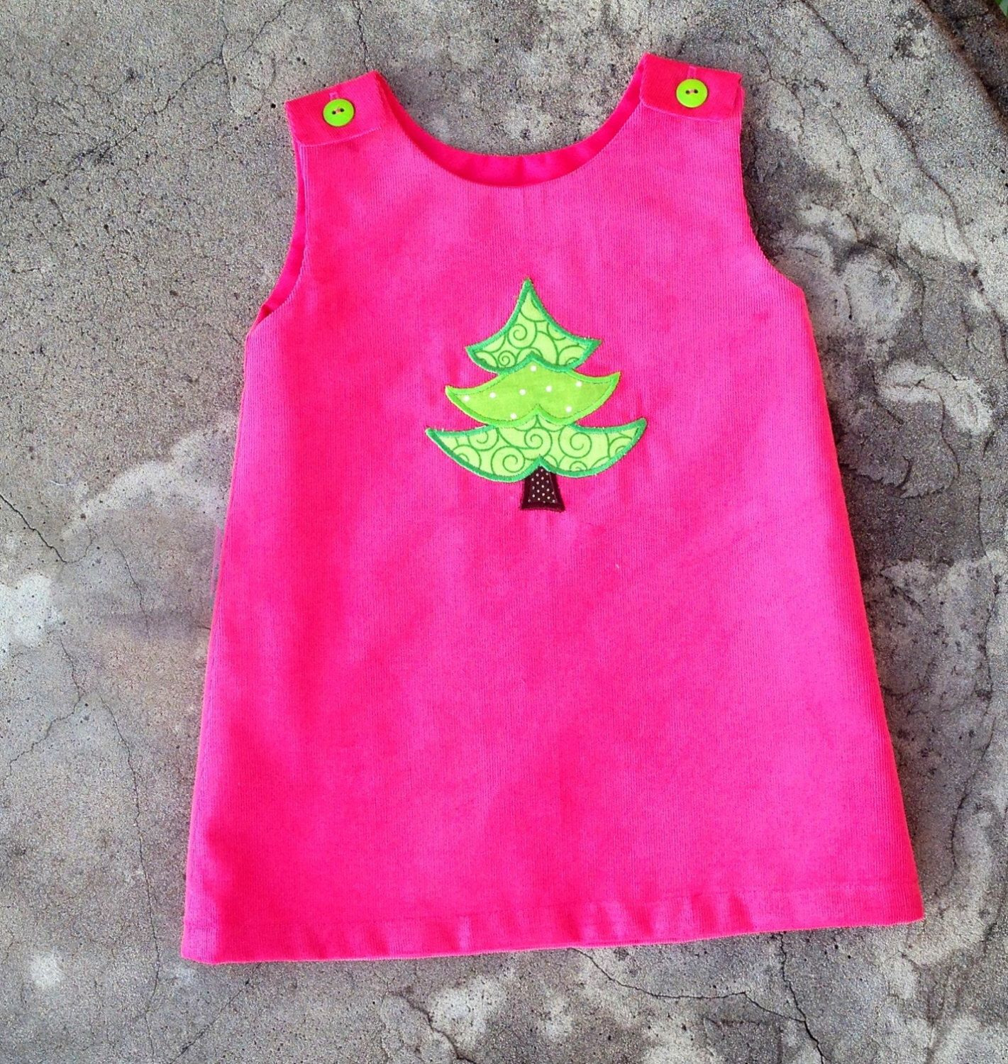 Hot pink corduroy Girls Christmas Dress monogram baby by SewChristi