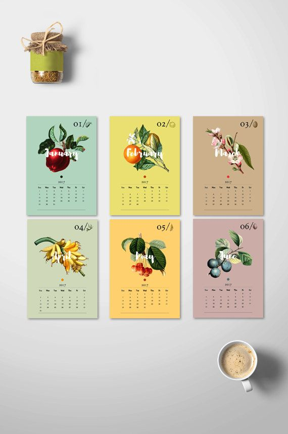 2017 DIY Monthly Calendar, Botanical Calendar 2017, 2017 Wall ...