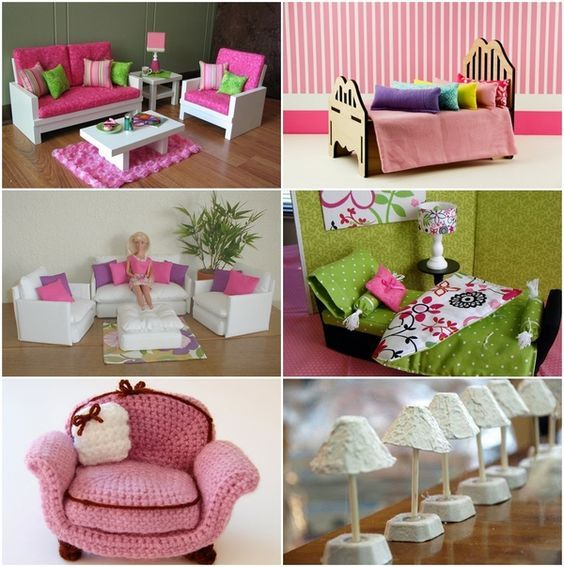 DIY Barbie furniture and DIY Barbie house ideas dollhouse ideas #barbiefurniture