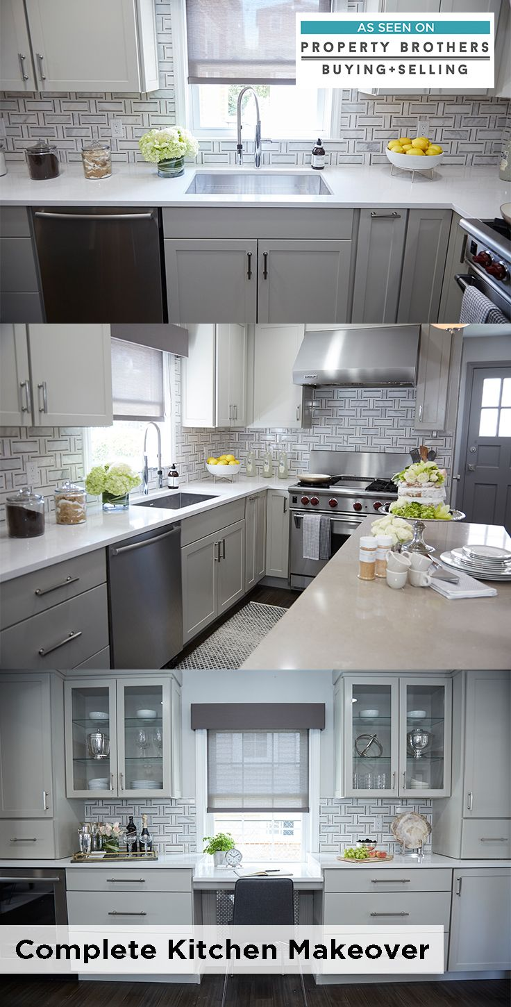 This multifunctional kitchen features Montgomery style ...