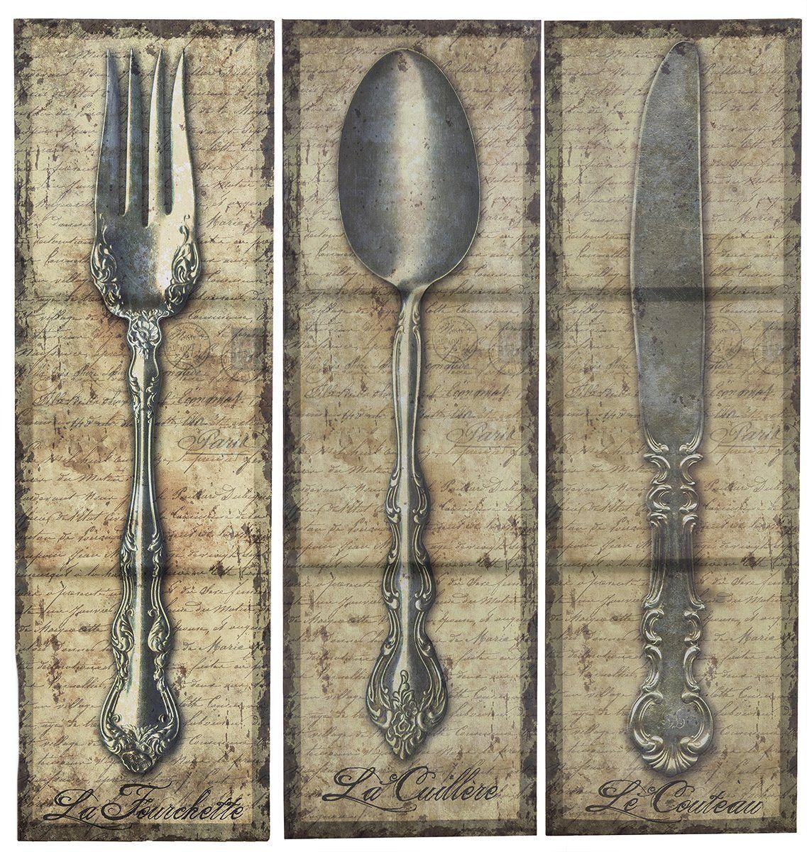 Amazon Com Vintage Kitchen Silverware Canvas Wall Art Spoon Knife Fork Kitchen Artwork For Wall Posters Amp Pr Kitchen Artwork Vintage Kitchen Spoon Knife