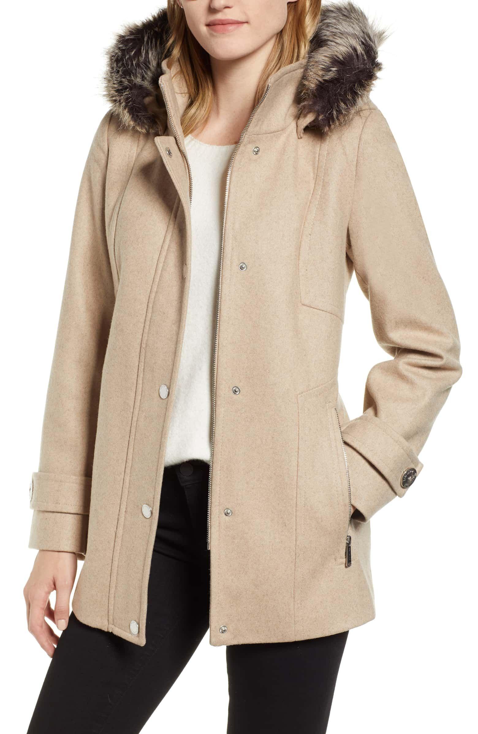 Faux Fur Hooded Wool Car Coat, Main, color, OATMEAL | Wool