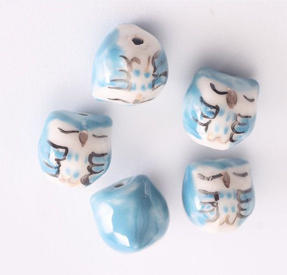 10pcs Light Blue Bird - porcelaine céramique perles 15 * 15mm