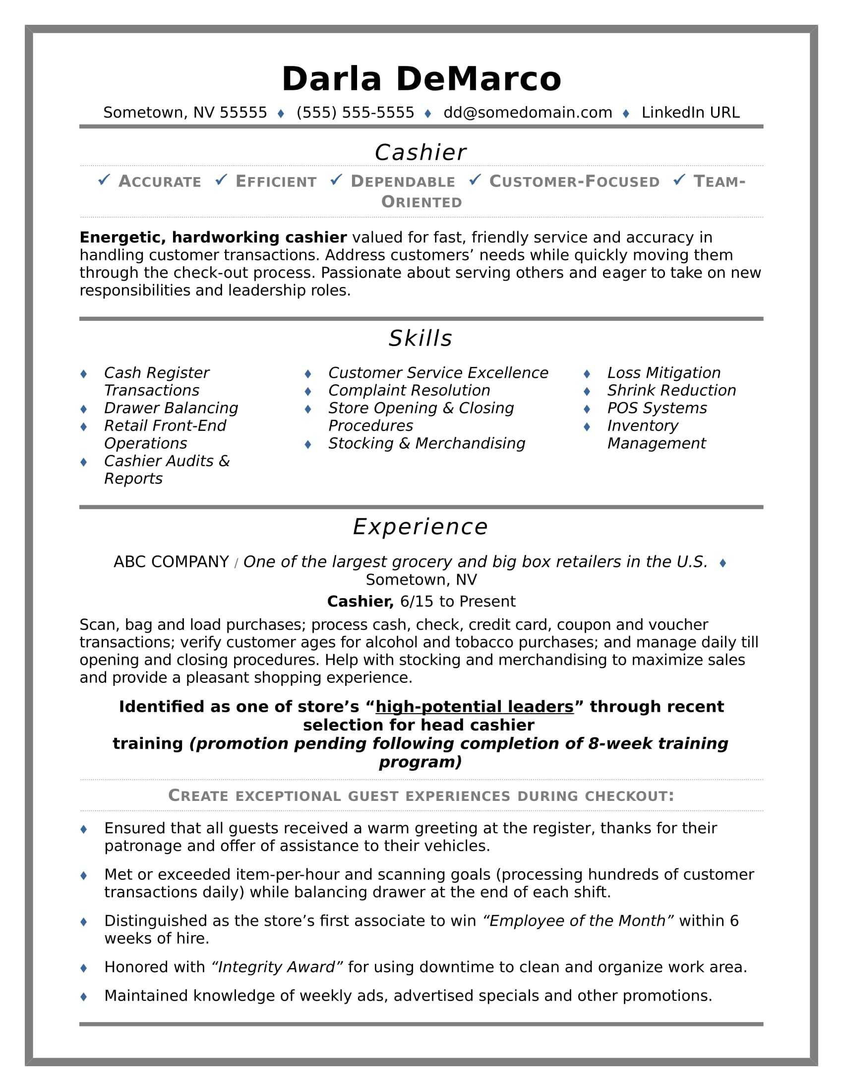 Cashier Resume Examples Cashier Resume Sample  Resume Examples Sample Resume And Career Advice