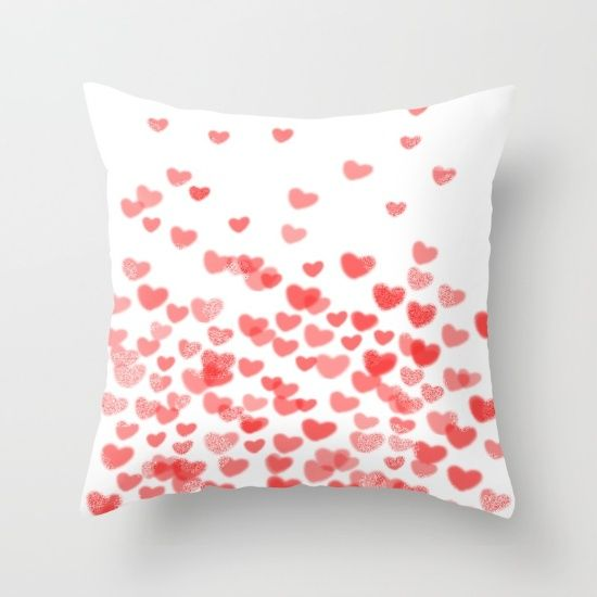 Hearts - Valentines Glitter Hearts in pink on white background for trendy girls valentines day Throw Pillow