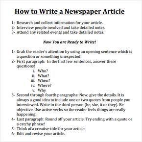 Write A Newspaper Article More Newspaper Article Template