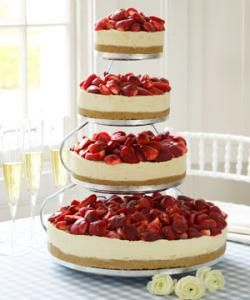 "Instead of a plain ol' wedding cake, how  about a wedding CHEESEcake?  So much better and it looks both classy, elegant, and tasty.   (( We are totally doing this in 3 tiers, but instead of having a topping on it we are setting up a cheesecake topping ""bar"" so the guests  can customize their own piece to their taste :)"