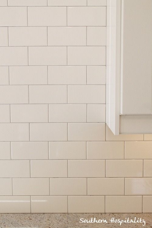 White Subway Tile Backsplash With Gray Grout