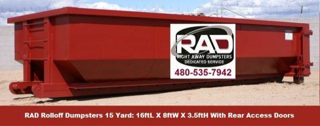 Mesa Az 15 Yard Roll Off Dumpster Rentals By Rad By Jeremy Takas