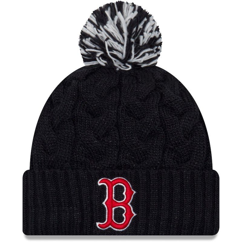 70f5f205ff4 ... discount boston red sox new era womens cozy cable cuffed knit hat with  pom navy 79bdd