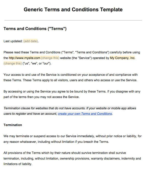 Sample Terms And Conditions Template Terms Of Service