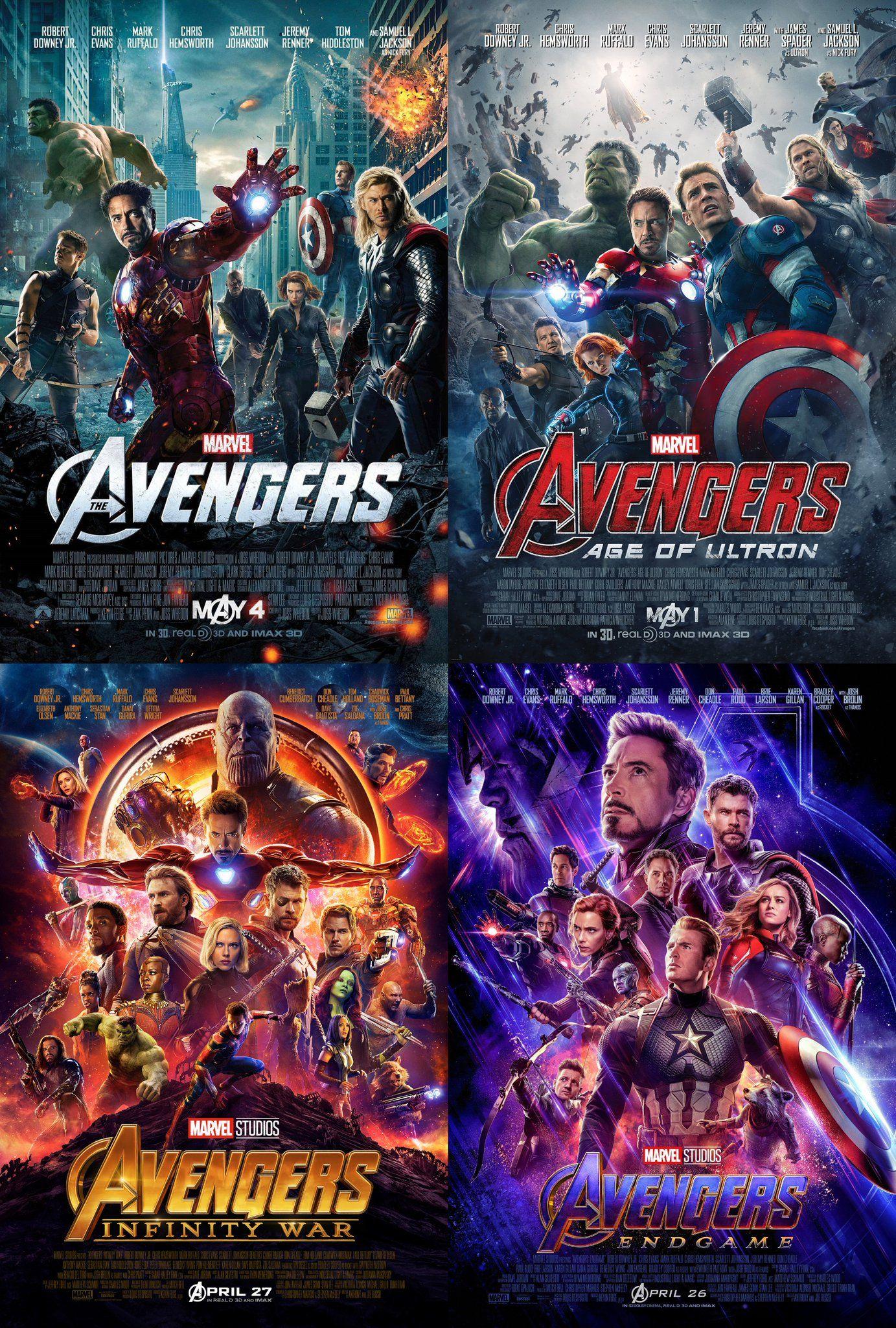 Avengers 2012 Avengers Age Of Ultron 2015 Avengers Infinity War 2018 Avengers Endgame 2019 Avengers Marvel Supereroi