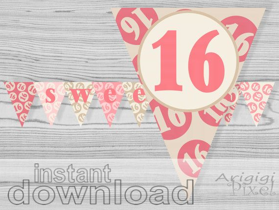 Sweet 16 Printable Banner Quinceanera Pink Cream Birthday Party