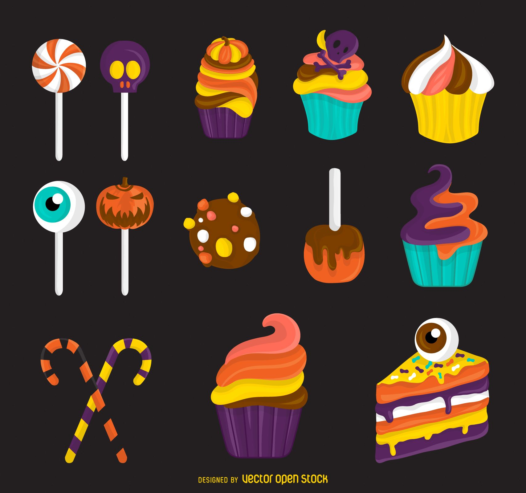 Sweet Halloween Treats Illustrations Isolated Candy Includes Lollipops, Candy