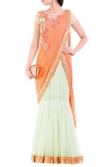 Pastel Green & Orange Drape Gown Saree by Anju Agarwal, Ethnic Gowns