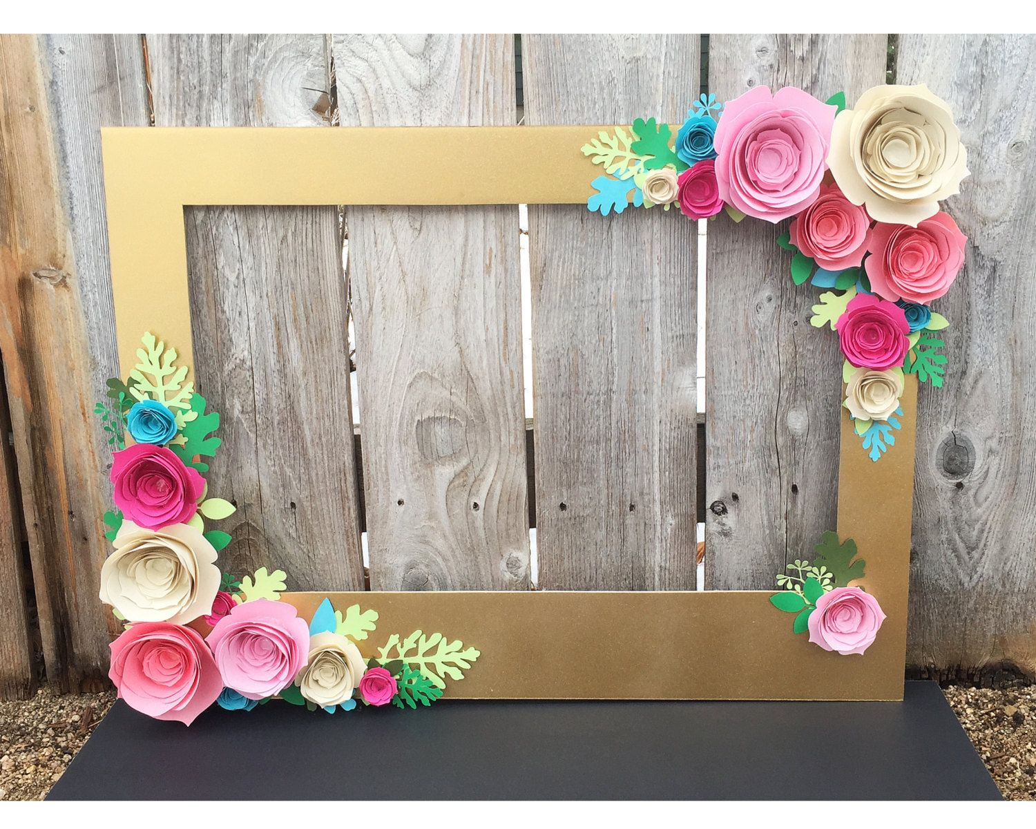 gold floral frame, photo booth prop with 3d flowers - perfect for