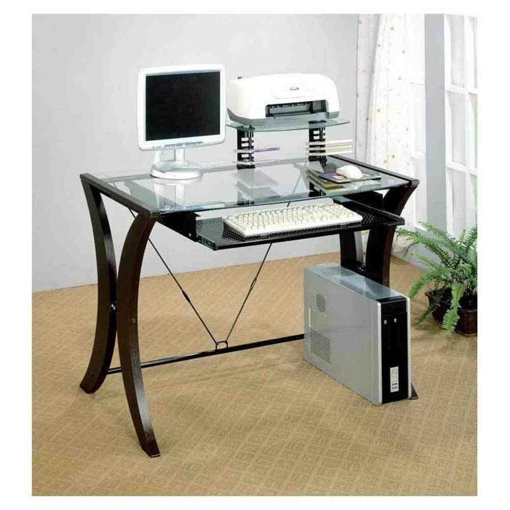 coaster furniture glass top computer desk with cshaped pedestal legs