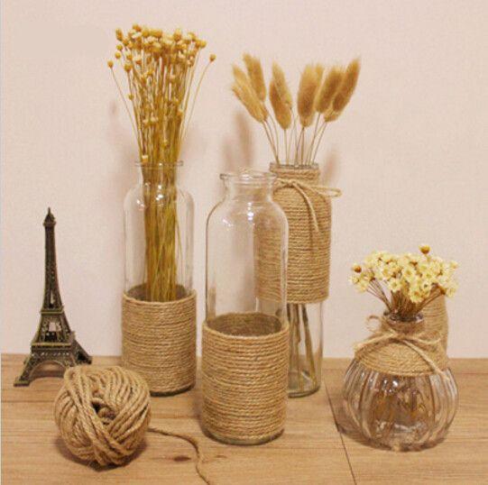 Zakka Hemp Rope Glass Vase Flower Bottle Ornaments Flower Stem Dried Flowers Vase