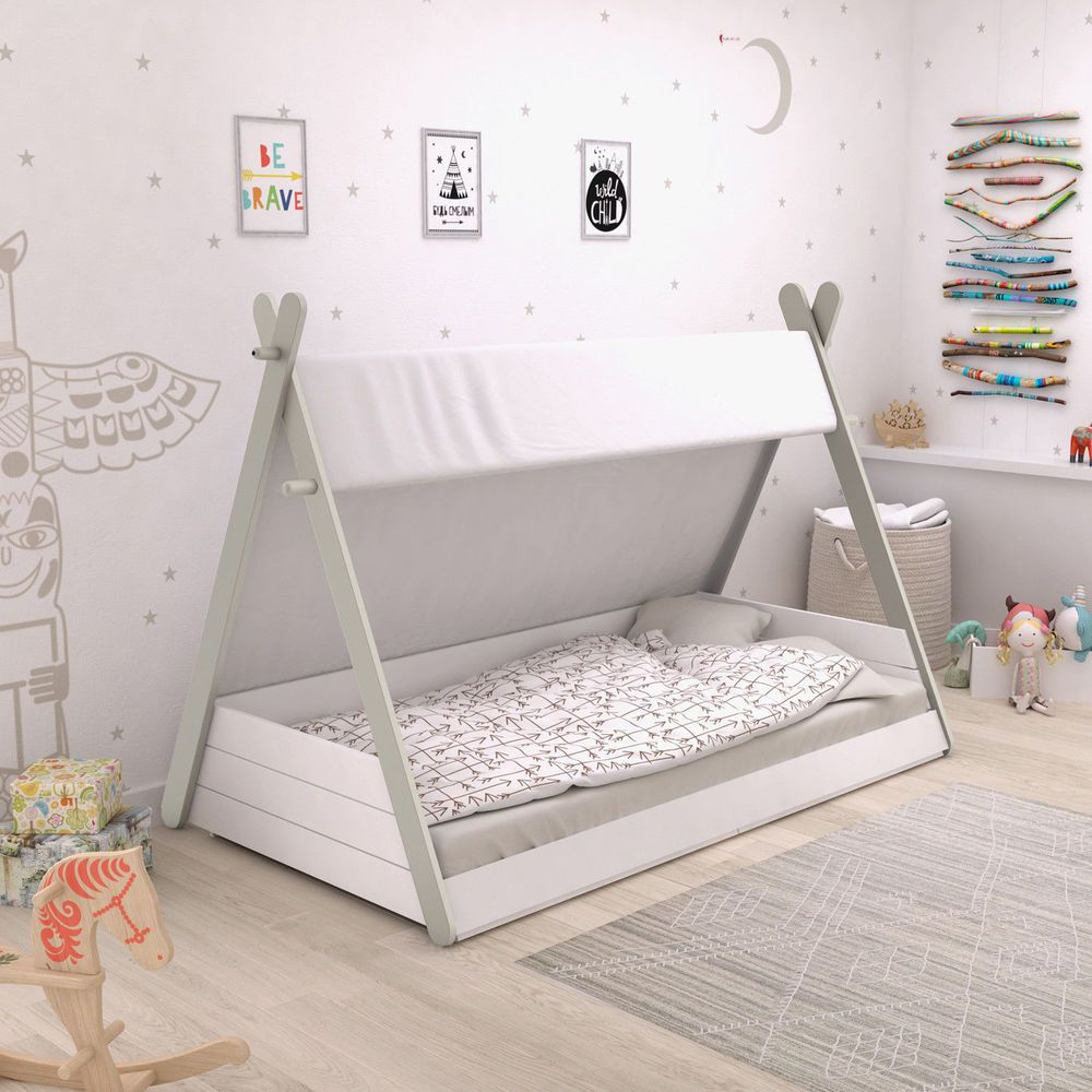 Kinderbett Tipi Weiß Indianerzelt Bett 90x200 Für Kinder Jugendbett Lattenrost Toddler Floor Bed Diy Toddler Bed Kid Beds