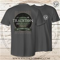 South Clothing Company Tradition design on the back of a Comfort Color or Gildan T Shirt.  Features a South Clothing Company Logo on the front.   Long-sleeve features Tradition down the right sleeve.