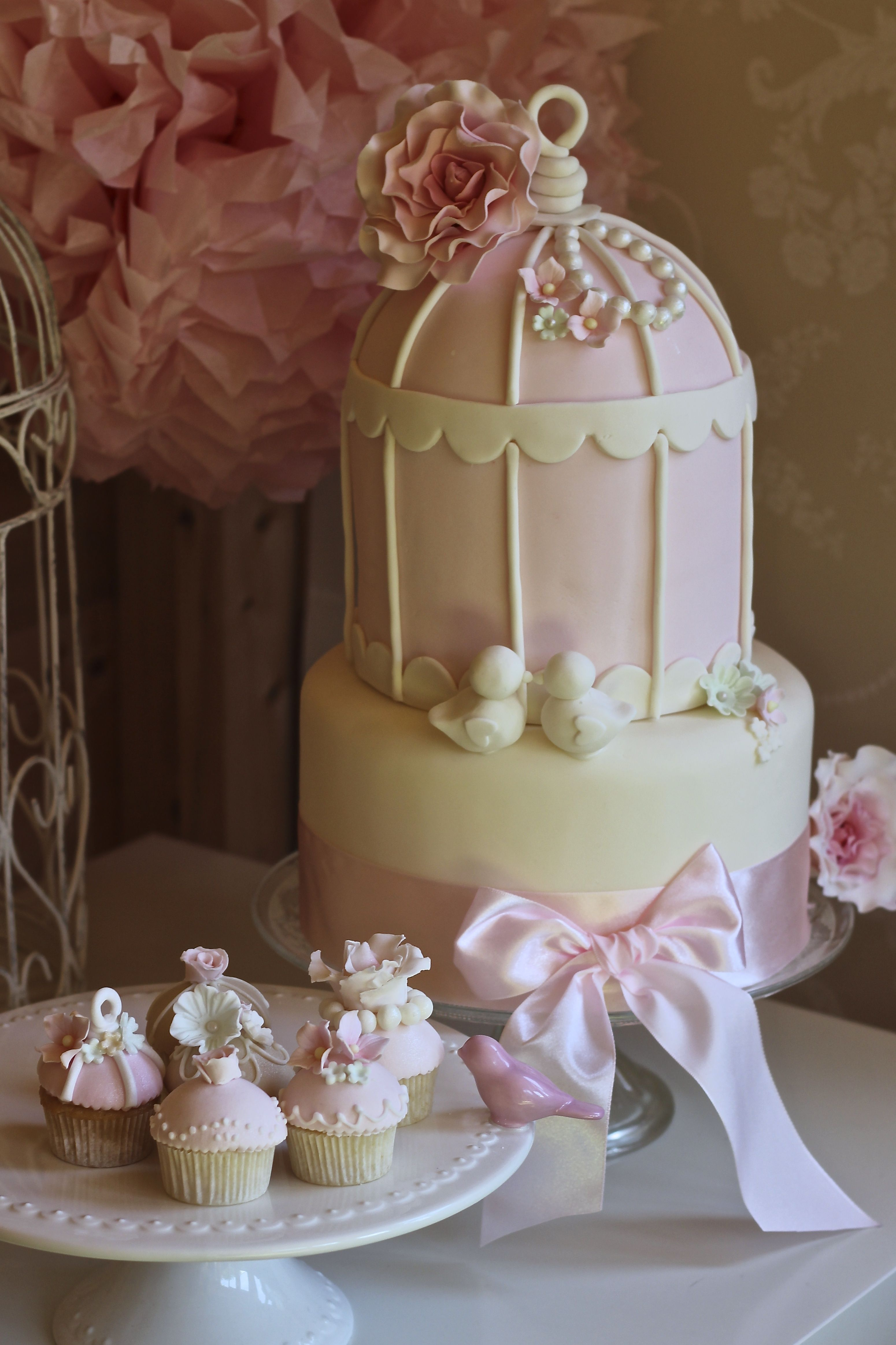 Vintage Birdcage Collection with matching mini cupcakes by The Little Cupcakery