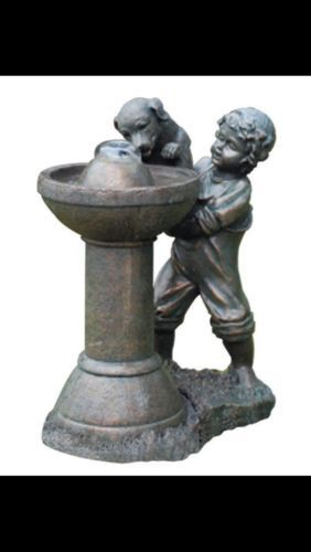 Bird Bath Puppy Drinking Garden Fountain Boy Dog Pond Backyard