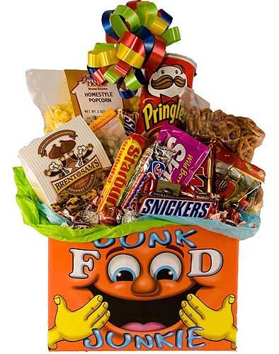 Food gift baskets snack junk food gift box snacks gift box send this fun junk food gift box to an office to your college student or a friend for any occasion negle Gallery