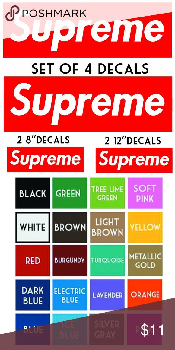 Supreme Vinyl Decals Set Of 4 Stickers Box Logo Set of 4 supreme box logo  decals