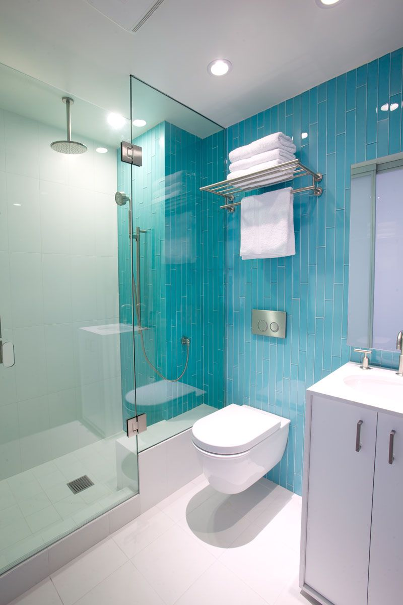 Inspirational Examples Of Blue and White Bathrooms Long Blue