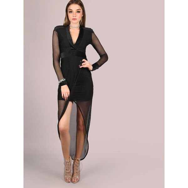 ca127a1bfc SheIn(sheinside) Plunging V-Neckline Mesh Overlap Dress (305 MXN) ❤ liked  on Polyvore featuring dresses, black, long sleeve cocktail dresses, deep v- neck ...