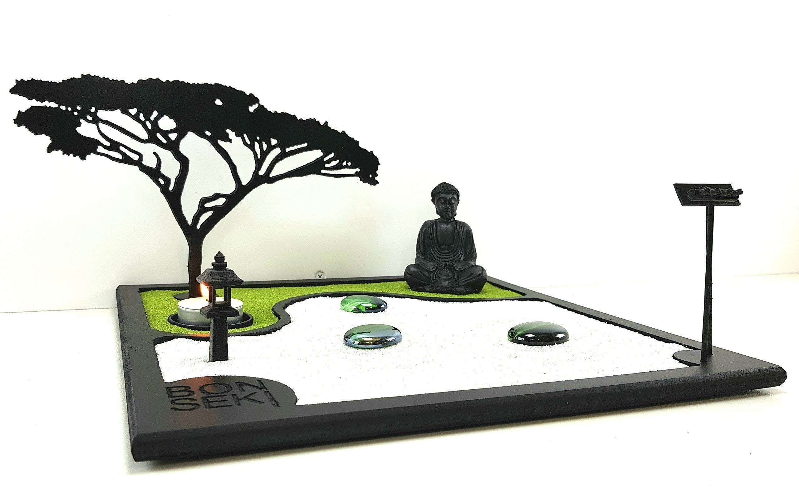 Bonsekia Giardino Zen Da Tavolo 30 X 30 Cm In Legno Buddha La
