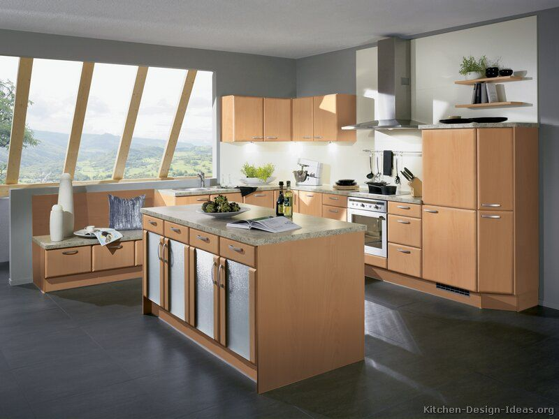 Grey flooring kitchen natural wood cabinets http www for Grey wood kitchen cabinets